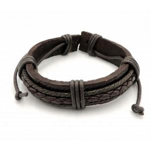 Bracelet sexe en cui véritable épais couleur marron foncé, orné d'une tresse et 2 cordelettes