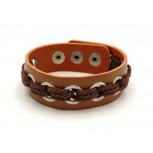 Bracelet unisexe en cuir véritable marron avec œillets et cordelettes