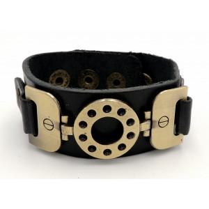 Bracelet manchette en cuir noir épais véritable orné de plaques de métal couleur bronze