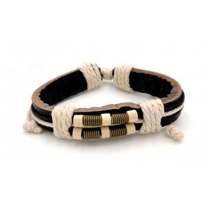 Bracelet unisexe en cuir véritable noir orné de ressorts et cordelettes claires