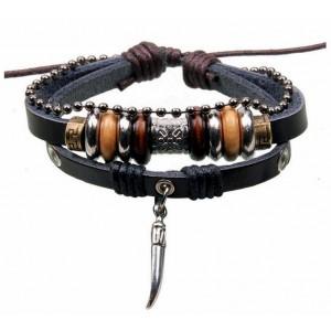 Bracelet unisexe en cuir véritable noir orné de rondelles et breloque
