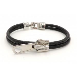 Bracelet en cuir véritable sur 2 rangs orné d'un zip en acier sur le devant