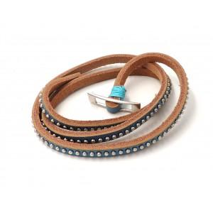 Bracelet en cuir bleu rehaussé par des perles de métal argenté