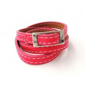 Bracelet en cuir rose triple tour rose