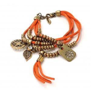 Bracelet en cuir multirangs orange, perles et breloques couleur vieil or