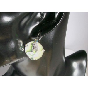 Boucles métal, sirène vert nacré et strass