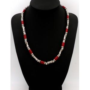 Collier ou bracelet en métal et bois rouge