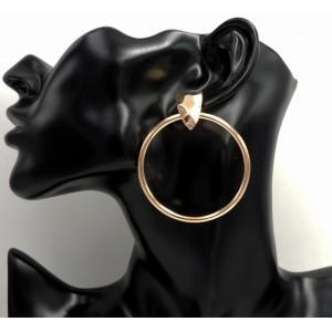 Boucles d'oreilles créoles avec attache facettée en métal doré