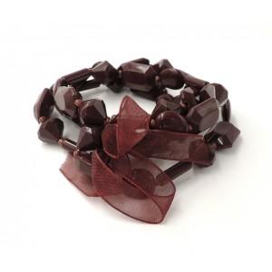 Bracelet avec des pierres couleur prune sur 4 rangs, ruban assorti