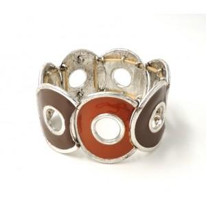 Bracelet en métal émaillé de couleur taupe et marron et rouille