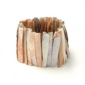 Bracelet manchette en nacre véritable, façon artisanale