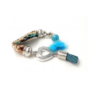 Bracelet en tissu , cœur en métal, cuir, pierre et pompon bleu