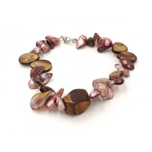 Bracelet orné de pierres semi précieuses et nacre dans des tons de marron