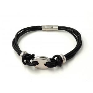 Bracelet en cuir véritable noir et décor en acier argenté
