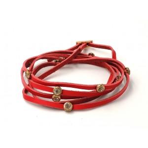 Bracelet multirangs en cuir véritable rouge et strass