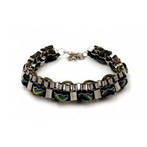 Bracelet brésilien avec tissu vert et chaîne cubique
