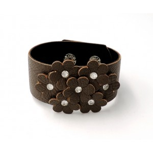 Bracelet manchette en cuir marron avec fleurs et strass