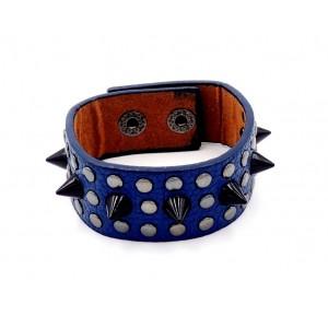 Bracelet en cuir bleu nuit orné de clous en métal argenté et noir