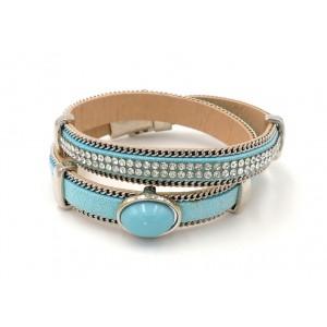 Bracelet en cuir turquoise double tour orné de strass et d'une pierre