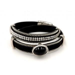 Bracelet en cuir noir double tour orné d'une pierre et de strass