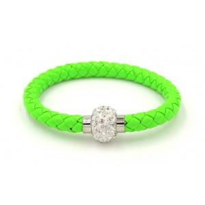 Bracelet en cuir tressé vert flashi orné de strass