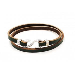 Bracelet en cuir vert, double tour