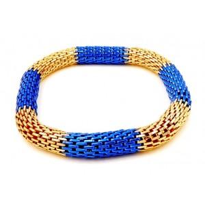 Bracelet en métal doré et bleu