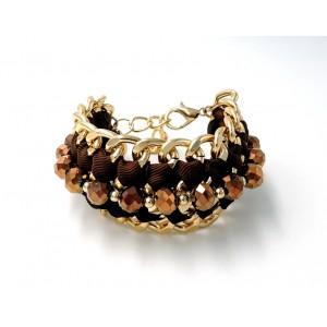 Bracelet manchette en métal doré orné de perles facettées et ruban marron