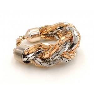 Bracelet en métal torsadé or et argent, maillons à facettes