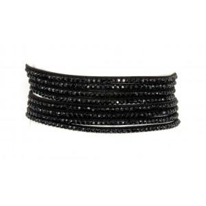 Bracelet double tour noir orné de strass noirs