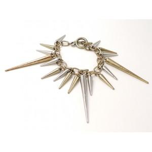 Bracelet style punk en métal couleur argent et or