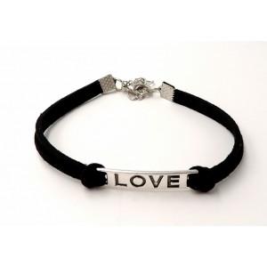 Bracelet en cuir noir avec plaque inscription love