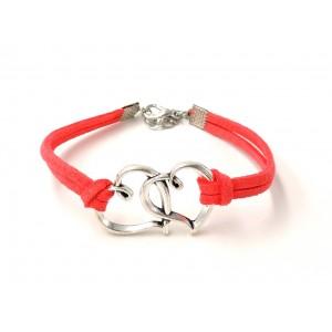 Bracelet en cuir rose orné de 2 cœurs entrelacés en métal argenté