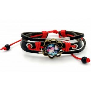 Bracelet en cuir véritable noir, cordon rouge, décor métal