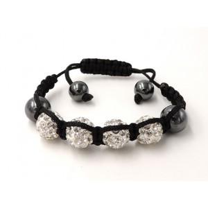 Bracelet Ytara Shamballa avec perles incrustées de cristaux blancs et perles de verre gris métallique