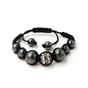Bracelet Ytara Shamballa avec 1 boule incrustée de cristaux blancs de verre gris métallique