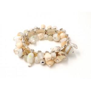Bracelet de la marque Ikita formé de plaques de métal, perles et pierres tons pastel