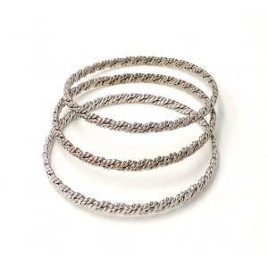 Bracelet trio en métal argenté tressé