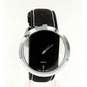 Montre avec boîtier rond couleur argent et bracelet en cuir véritable noir