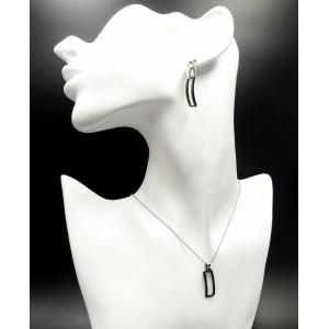 Parure collier et boucles en acier inoxydable et céramique noire