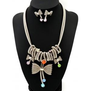 Parure en métal inoxydable, collier et boucles d'oreilles ornés de strass de couleur