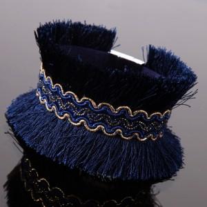 Bracelet Africa dreams avec frangettes bleues et frise dorée centrée