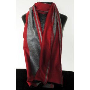 Echarpe de qualité premium pour homme, grise et rouge