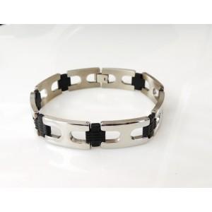 Bracelet en acier brillant pour homme, maillons larges et silicone en intervalle