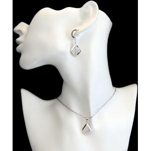Parure en argent 925, collier et boucles ornés de zirconiums