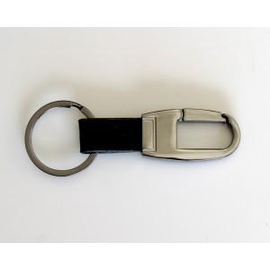 Porte-clés en acier inoxydable couleur fusain et cuir grainé noir