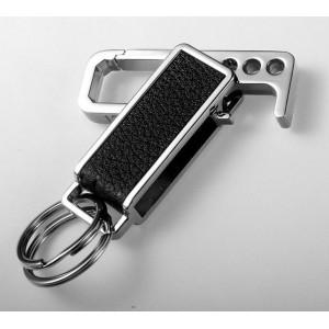 Porte-clés incrusté de cuir noir avec fonction décapsuleur, petits anneaux
