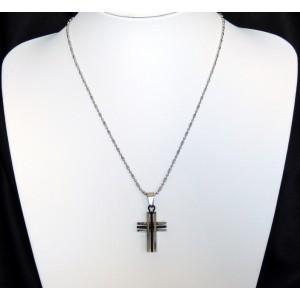 Collier en acier inoxydable, avec un pendentif design en forme de croix, 2couleurs