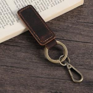 Porte-clés en cuir véritable marron foncé