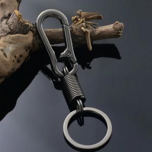Porte-clés mousqueton en métal noir